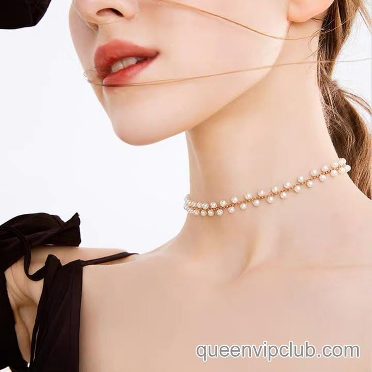 Pearl design short neckband jewelry necklace
