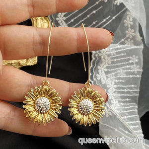 Sun Flower Design Drop Earrings