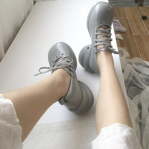 Retro Lace-up Round-toe MaryJane Shoes