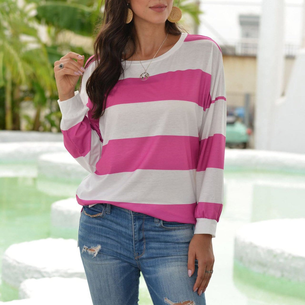 Casual horizontal stripes simple round neck T-shirt