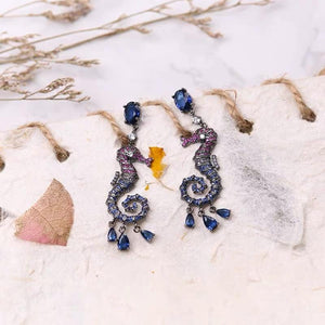 Color rhinestone hippocampus decorative drop earrings