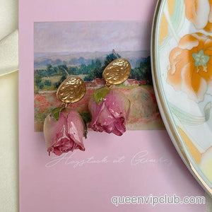Rose Flower Dry Design Handmade Earrings
