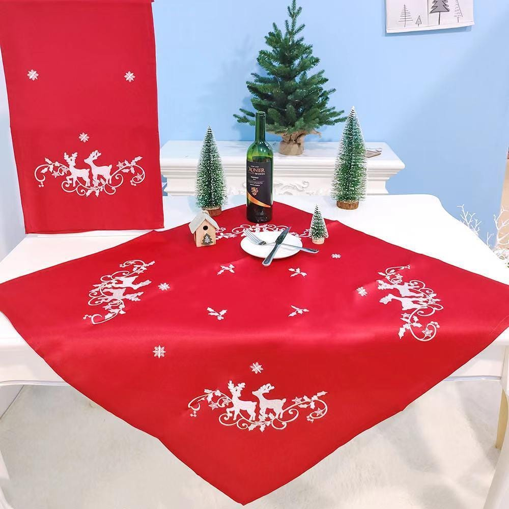 Christmas Decorations - Embroidered Christmas Fabric Tablecloth
