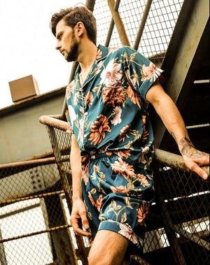 fashion floral print silk pajamas set