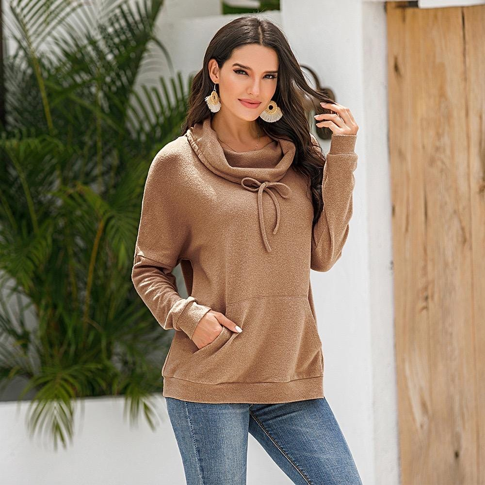 Cashmere loose long-sleeved solid color pullover sweater plush top
