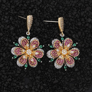 Rhinestone Floral Drop Earrings