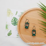 Retro oil lamp design drop earrings