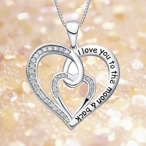 S925 sterling silver double heart heart-shaped necklace with diamonds