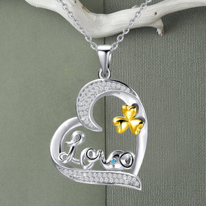 S925 sterling silver heart-shaped necklace with diamond Love elephant design
