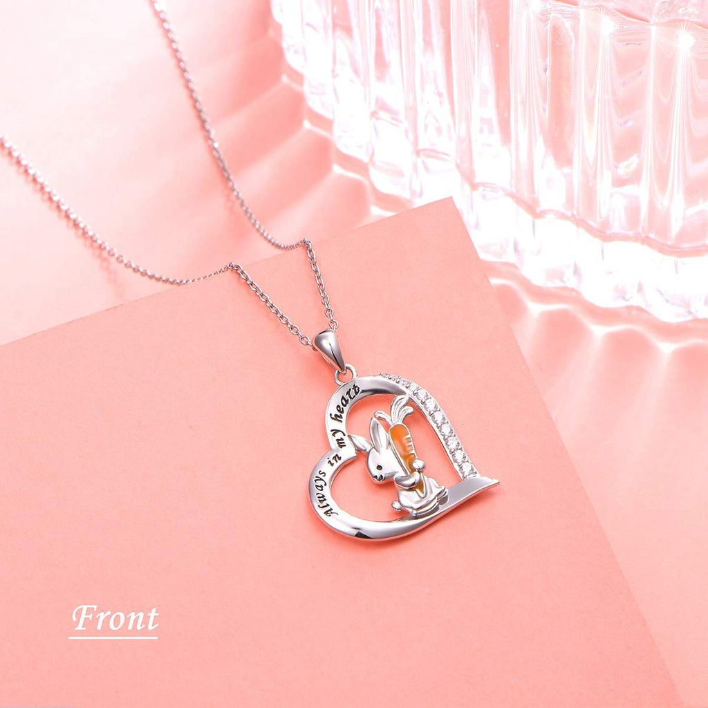 S925 sterling silver heart-shaped diamond studded rabbit design pendant necklace