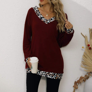 Leopard print stitching V-neck mid-length top T-shirt