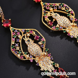 Rhinestone Parrot Decorative Drop Earrings