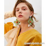 Flower shape drop earrings