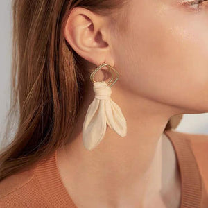Simple Fabric Leaf Shape Drop Earrings