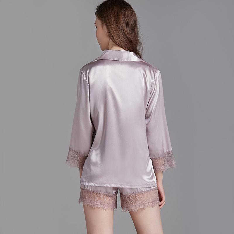 Silk solid color lace home pajamas