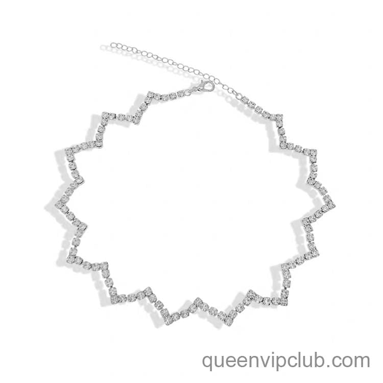 Wave shape design with rhinestone necklace
