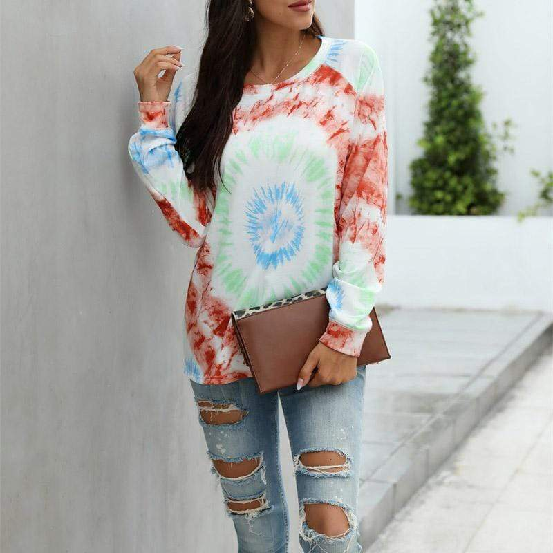 Printed long-sleeved loose T-shirt sweatshirt
