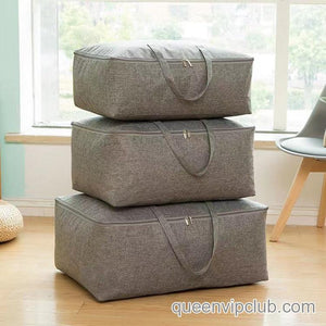 Solid Linen Zipper Quilt Storage Bag