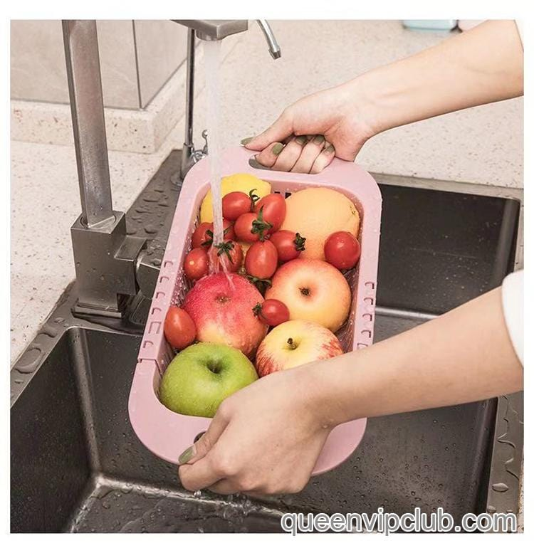 Kitchen multifunctional telescopic cleaning fruit vegetable basket
