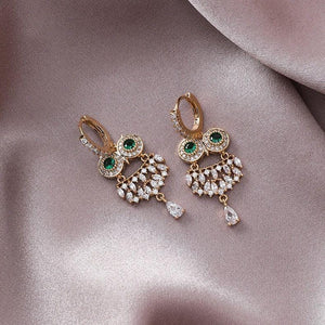 Owl Charm Drop Earrings 925 Silver Post