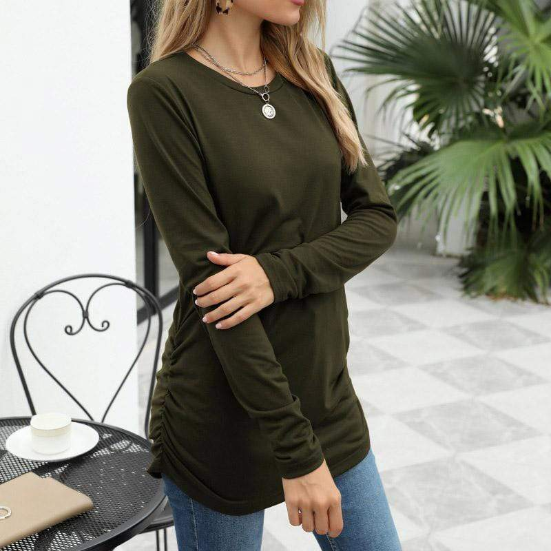 Round neck pullover solid color long sleeve women's clothing