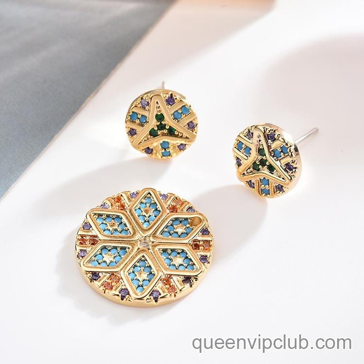 Retro fashion micro-set zircon asymmetric geometric earrings