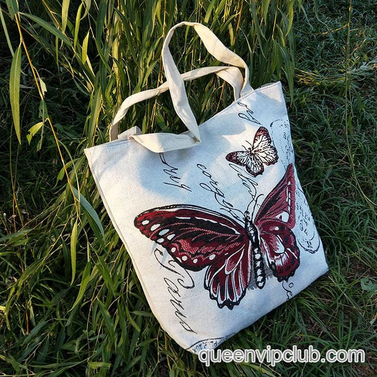 Canvas butterfly embroidered double-sided pattern large-capacity bag