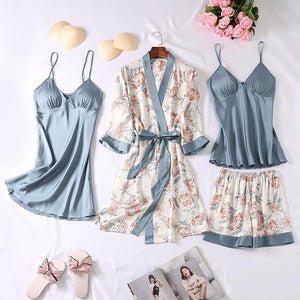 4 PCS Pure Silk Flower Print Pajamas Sets