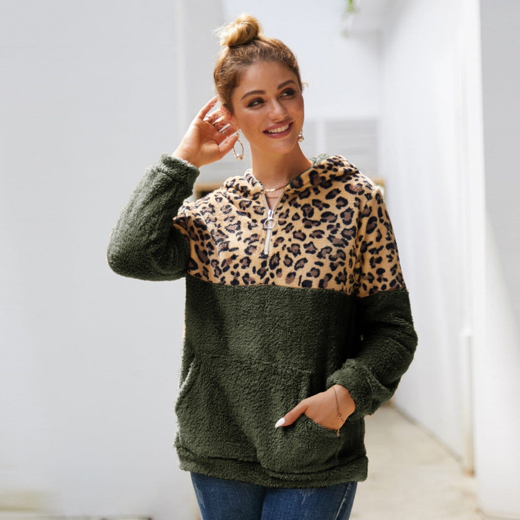 Reversible fleece leopard print patchwork sweatshirt