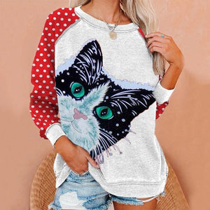 Cat print round neck long sleeve women's T-shirt
