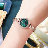 Fashion round quartz green dial watch
