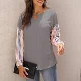 Striped stitching long sleeve T-shirt