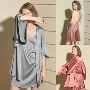 Sexy high class nightgown silk nightdress set