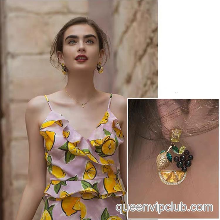 Rhinestone Fruit Drop Earrings