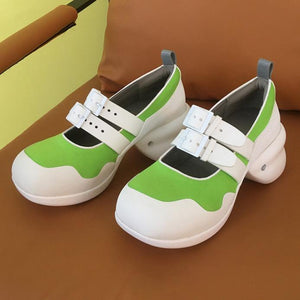 Color-block Strap MaryJane Shoes