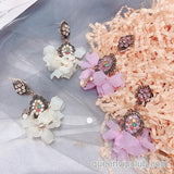 Fashionable candy color flower design earrings