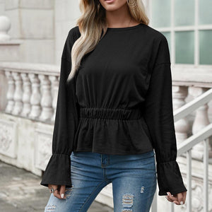 Round neck waist pleated long-sleeved T-shirt casual top