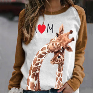 Animal print round neck women's long sleeve T-shirt