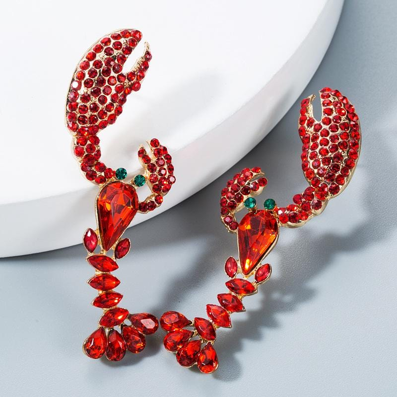 1pair Rhinestone Engraved Lobster Earrings