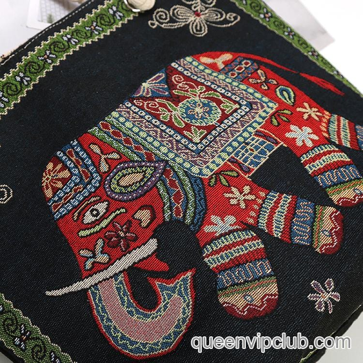 Canvas elephant embroidered double-sided pattern large-capacity bag