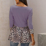 Round neck leopard print stitching three-quarter sleeve T-shirt women