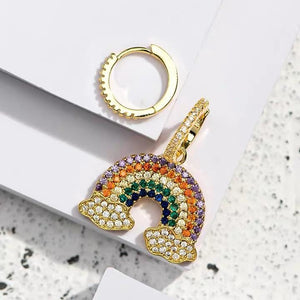 Cute fashion rainbow bling asymmetric earrings
