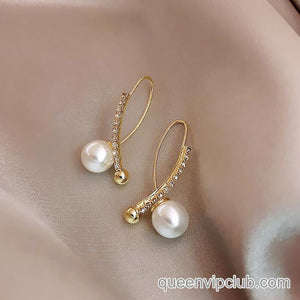 Simple rhinestone pearl creative earrings