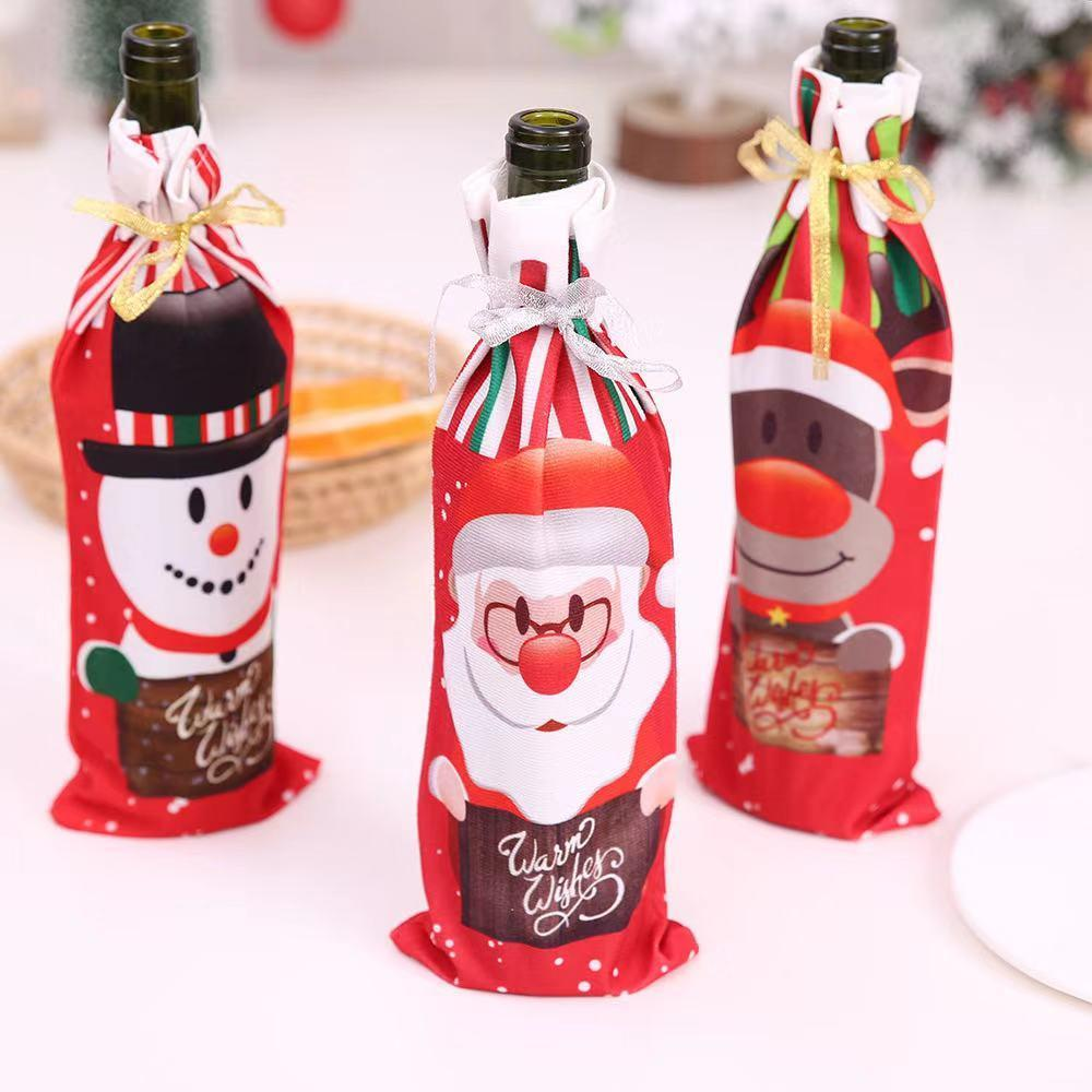 Christmas Snowman Santa Claus Wine Bottle Cover