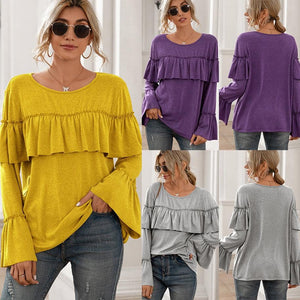 Casual ruffle stitching long-sleeved solid color mid-length T-shirt