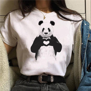 Panda print round neck short sleeve women's T-shirt