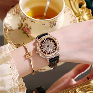Rotating waterproof quartz watch with diamond dial