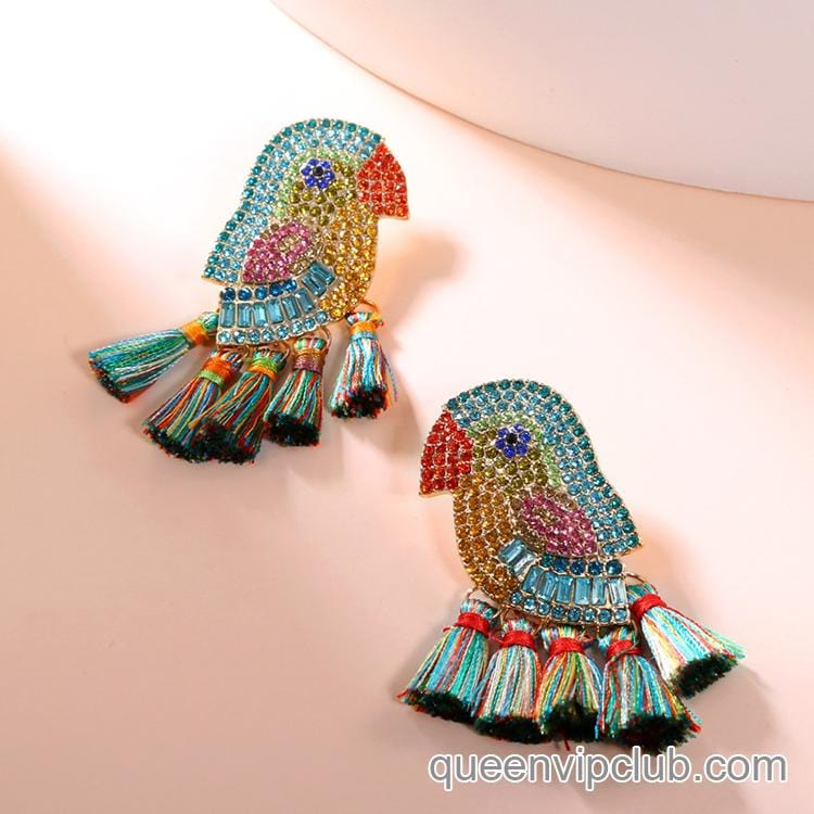 Parrot Color Diamond Tassel Drop Earrings