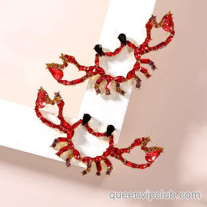 Red rhinestone crab design drop earrings