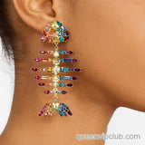 Colorful rhinestone fish-shaped drop earrings